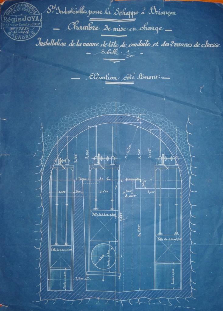 Coupe d'une chambre de mise en charge de l'usine de la Schappe à Briançon, conçue en 1918 par Régis JOYA