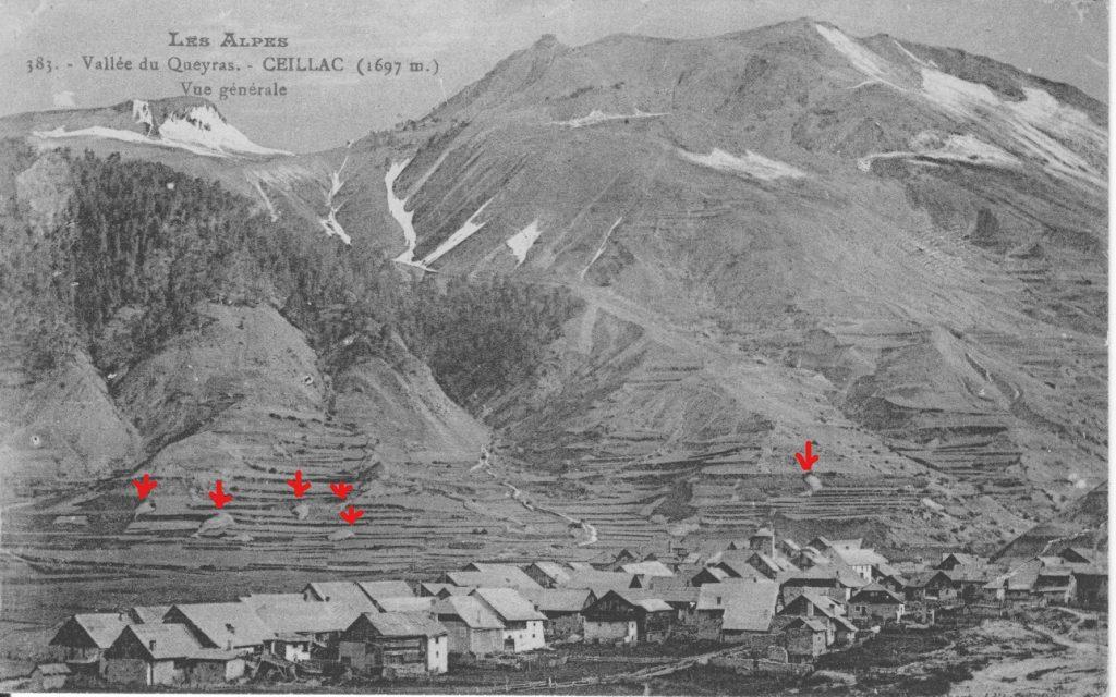 Le village du Chef-Lieu à Ceillac au début du XXe siècle, avec son terroir cultivé autour