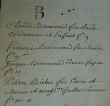 Extrait de la liste des clients d'un notaire de Vallouise au XVIIIe siècle
